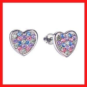 Regetta Screw Back Multicolored Heart Stud Earrings