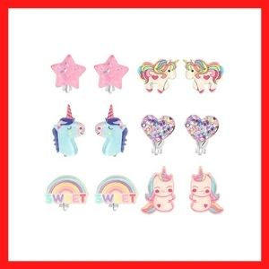 PinkSheep Unicorn Clip On Earrings for Little Girls