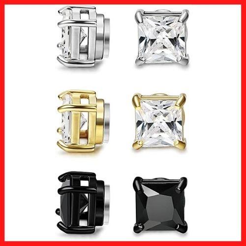 FIBO STEEL 3 Pairs Stainless Steel Magnetic Earrings