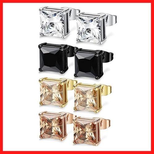 FIBO STEEL 4 Pairs Stainless Steel Stud Earrings