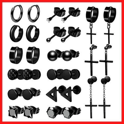 ONESING 15 Pairs Earrings for Men Black Stud Earrings