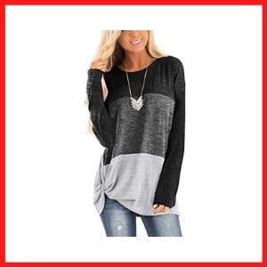 Twotwowin ladies long sleeve knotted tops
